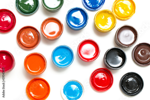 colorful gouache isolated on white