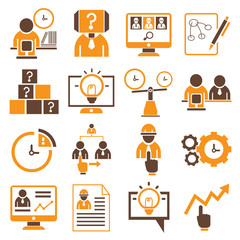 business management icons, orange theme
