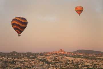 Balloon in Cappadocia over the ancient city
