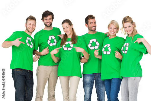People in recycling symbol t-shirts pointing to themselves