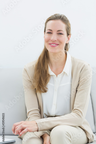 Smiling female financial adviser sitting on sofa