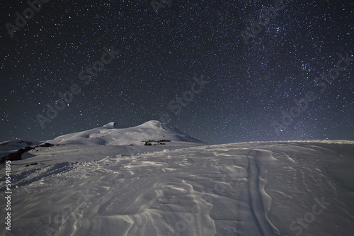 Starry sky above Elbrus, Caucasus Mountains