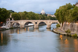 Sisto bridge on Tiber river at evening