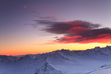 Beautiful sunset over the mountain ridge. Caucasus