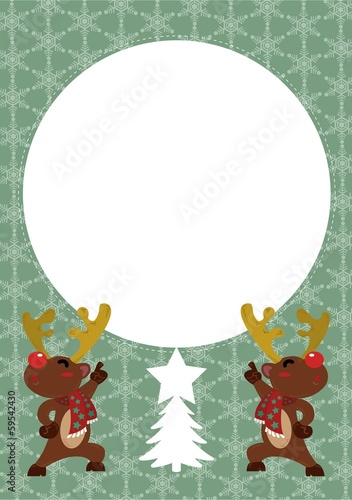 Reindeer postcard vector with circle text box for your wish.