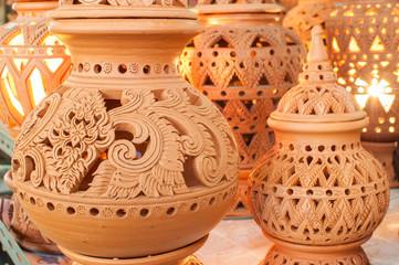 Beautiful Thai style designs on pottery