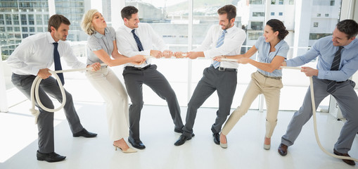 Business people playing tug of war in office