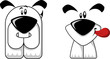Two happy and cute cartoon dogs