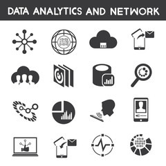 data technology icons, data analytic icons