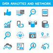 data analytic icons, blue theme