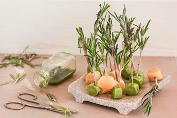 Vegetarian candy with rosemary and cactus syrup