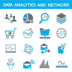 data analytic icons, blue theme