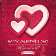 red background with  two valentine hearts and wishes text,  vect