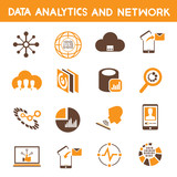 data technology, data analytic icons, orange theme