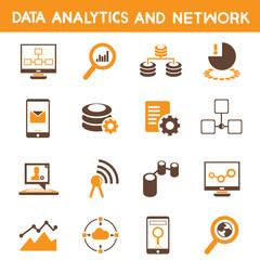 data technology, data analytic icons, orange theme