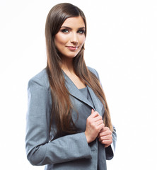 Business woman crossed arms against white background