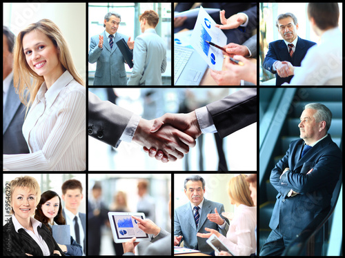Collage with businesspeople working together