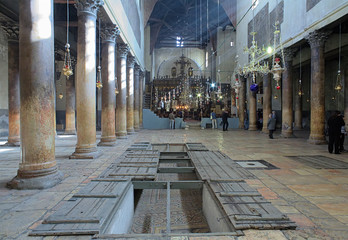 Interior of the Church of the Nativity in Bethlehem, Israel