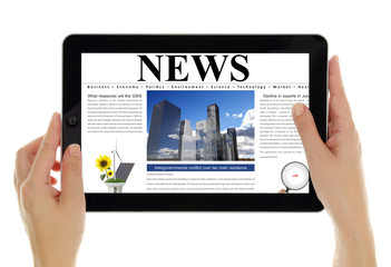 Hands holding tablet with digital news, isolated on white