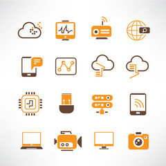 network, communication icons, orange theme