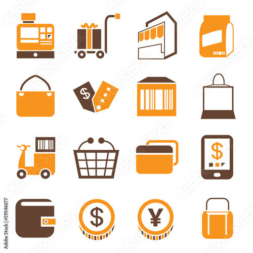 e commerce icons, shopping icons, orange theme