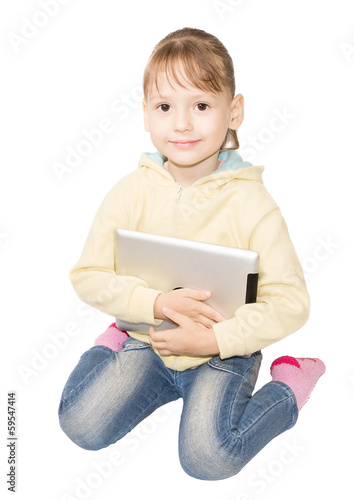 girl sitting with tablet isolated on white