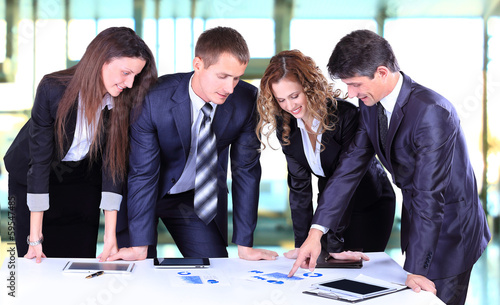 Business team working on their business project
