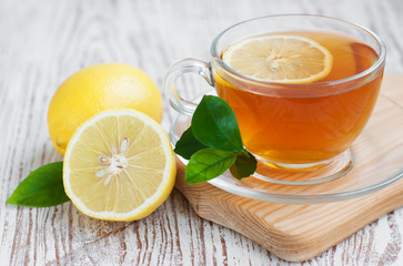 Tea and lemon slice