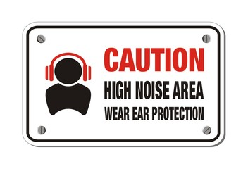 high noise area, wear ear protection - caution sign