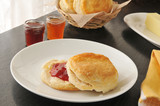 Fresh baked biscuit with jam