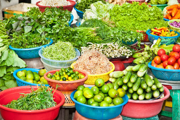 Vegetable on street market in Ho Chi Minh, Vietnam.