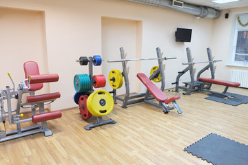 fitness hall with fitness equipment