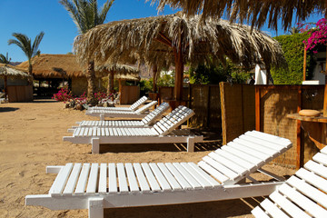 Beach beds in resort