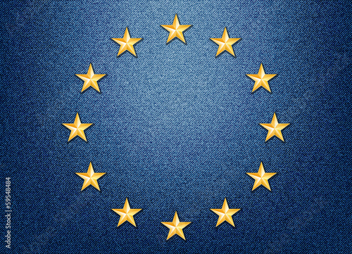 European Union flag with Metal Stars