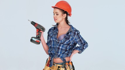 Attractive Female Worker Posing Isolated