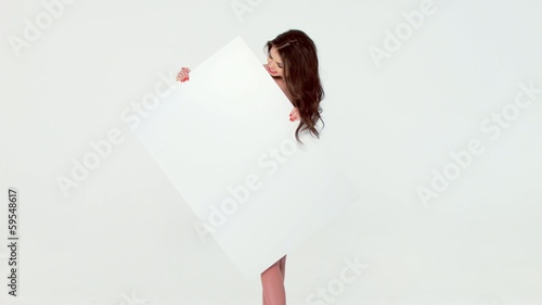 Sexy Brunette Posing Isolated With Blank Board
