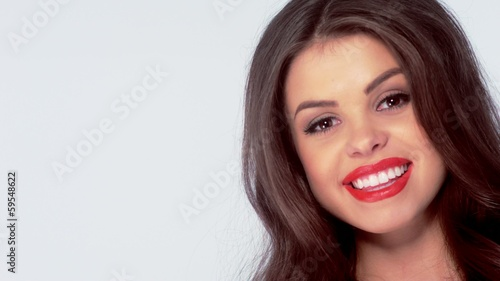 Portrait of Beautiful Smiling Brunette Girl