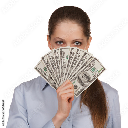 Woman with a fan of hundred dollar bills