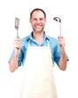 Smiling man cooking in apron isolated on white background