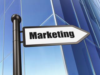 Marketing concept: sign Marketing on Building background