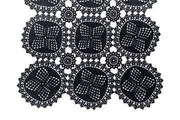 Black lace with pattern on white background