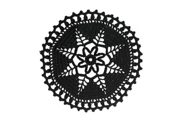 Black lace with pattern of snowflakes on white background