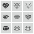 Vector black diamond icons set - 59551605