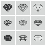 Vector black diamond icons set