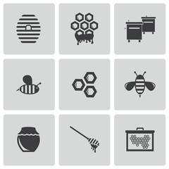 Vector black honey icons set