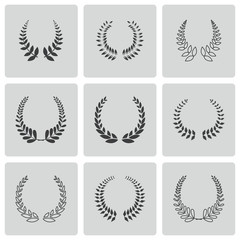 Vector black laurel wreaths icons set