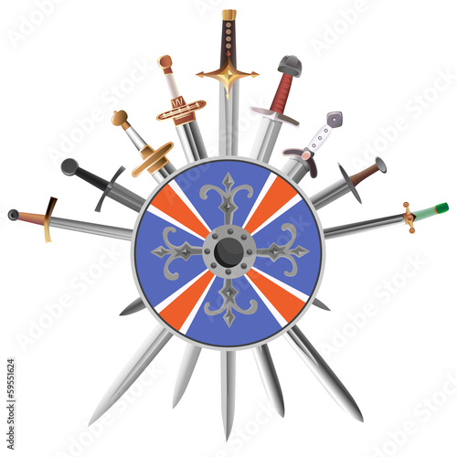 Swords cross crosswise and shields.