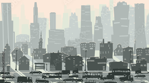 Abstract childish illustration of big city with cars.