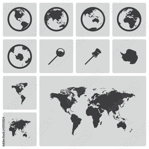 Vector black world map icons set