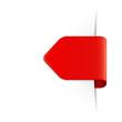Roter Sticker Pfeil mit Schatten und Textfreiraum